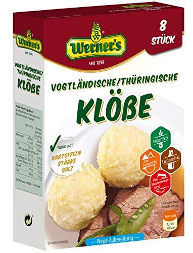 Werner´s Vogtländische / Thüringische Klöße 8 Stück, 10 Packungen / Karton, glutenfrei, laktosefrei, ohne Farbstoffe, ohne zugesetzte Aromen, zum selbstformen,