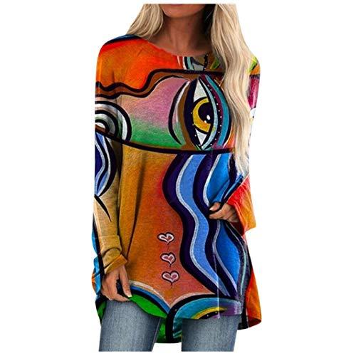 KYBA Damen T-Shirt Langarmshirt Blumen Shirt Tunika 3D Druck Tshirt Lose Rundhals Longshirt Frauen Bluse Oberteile Lang Tops