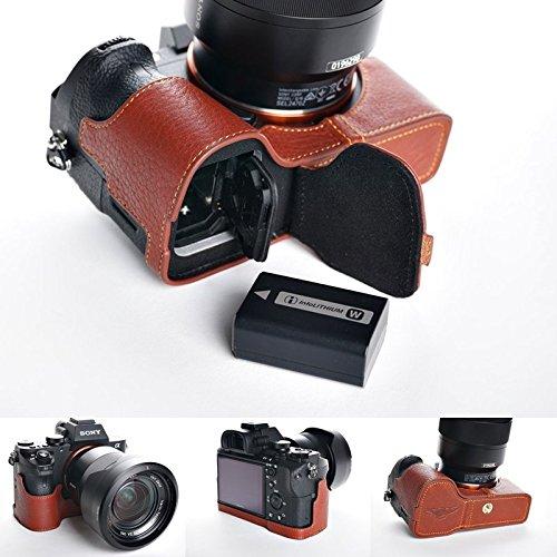 SONY ソニー α7 II / α7S II / α7R II用本革カメラケース(電池,SDカード交換可) (カメラケース, ブラウン)