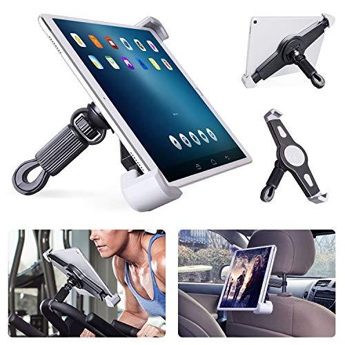 Tablet Halterung Heimtrainer Tablet Halter Fahrrad für Spinning/Laufband, Auto Kopfstütze Mikrofonständer mit 360° Drehbar Tablet Ständer für iPad Pro Air, Anderen 9,5-15,7 Inch Tablets