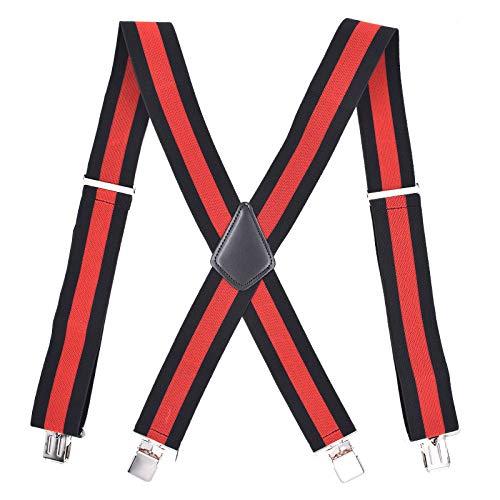 LLZGPZBD bretels volwassenen 5cm zwart rode strepen mannen riem elastisch 3 clips broek riemclip