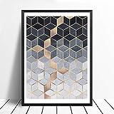 yhyxll Nordic Geometric Cube Art Poster und Drucke Wandkunst Leinwand Malerei Bilder Für Wohnzimmer Abstrakte Wohnkultur 40x50 cm