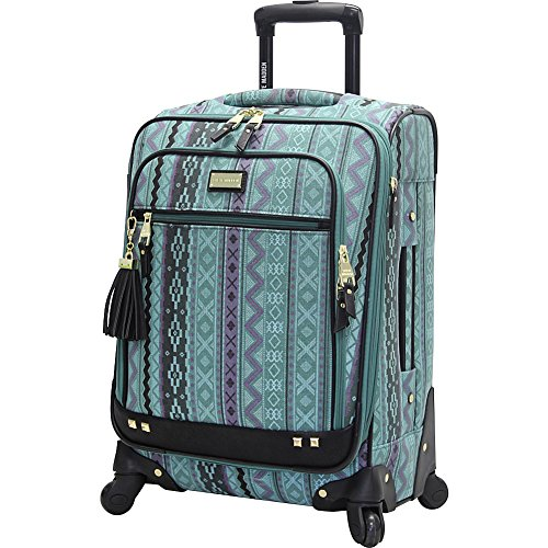 Steve Madden Designer 20 Inch Luggage Collection - Lightweight Softside Expandable Suitcase for Men & Women - Durable Carry On Bag with 4-Rolling Spinner Wheels (Legends Turquoise)