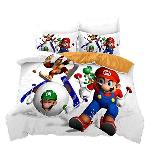 SK-YBB 3D Mario Fashion Printed Home Furnishing – Juego de cama de tres piezas para adolescentes y niños – Funda nórdica (A-03 228 x 264 cm (50 x 70 cm)