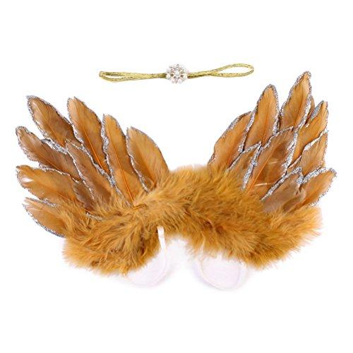 OULII Ailes d'ange plume nouveau-né bébé photographie accessoires tenue avec bandeau (or)