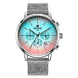 Relojes para Hombre Cronógrafo Reloj de Cuarzo analógico con Fecha Impermeable de Acero Inoxidable -B