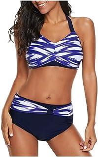 2019 Sexy Halter Bikini Set Summer Printed Two Pieces Swimwear Women Beach Wear High Waist Shorts Bathing Suit Backless Swimsuit