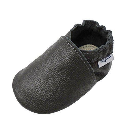 Mejale Baby Shoes Soft Soled Leather Moccasins Anti-Skid Infant Toddler Prewalker(Dark Grey,18-24 Months)
