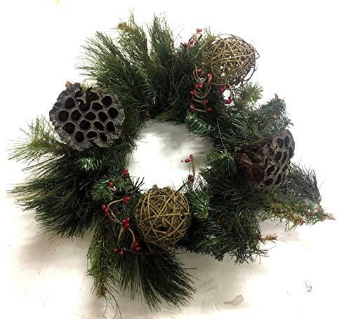 Centro de mesa navideño guirnalda con bolas de madera ramas ...