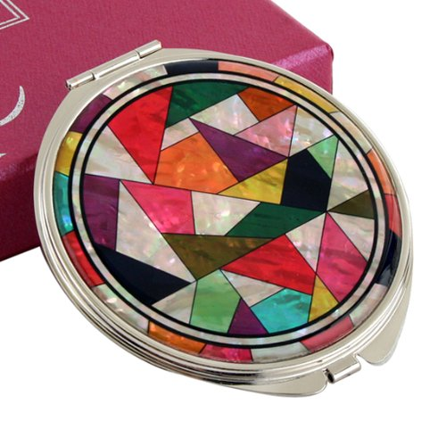 Mother of Pearl Magnifying Patchwork Design Make up Double Compact Cosmetic Double Round Vanity Metal Mirror by Antique Alive
