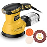 Ginour 6 Variable Speed Random Orbit Sander, 5-inch Sander with 15Pcs Sandpapers, Sponge Disc and Wool Disc, Efficient Dust Collection System, Ideal for Sanding, Finishing, Polishing Wood