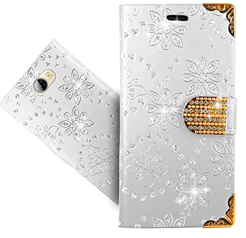 FoneExpert® Huawei Y6 II Compact / Huawei Y5 II Handy Tasche, Bling Diamant Wallet Hülle Flip Cover Hüllen Etui Hülle Ledertasche Lederhülle Schutzhülle Für Huawei Y6 II Compact / Huawei Y5 II