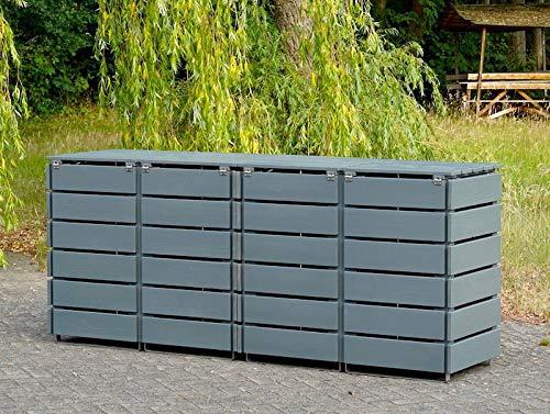 4er Mülltonnenbox / Mülltonnenverkleidung 120 L Holz, Deckend Geölt Lichtgrau - 4