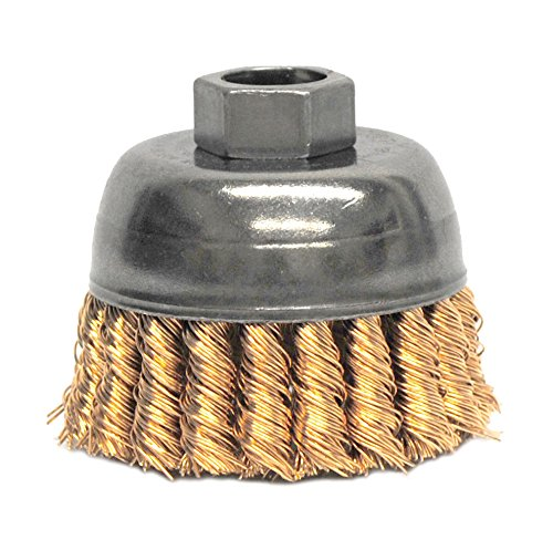 Weiler 13299 2-3/4' Single Row Knot Wire Cup Brush,.020' Bronze Fill, 5/8'-11 UNC Nut, Made in The USA