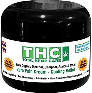 Organic Hemp Pain Cream (2oz) 300mg with Menthol | Fast Acting Muscle, Joint, Nerve Pain Relief Topical | Organic MSM, Arn...