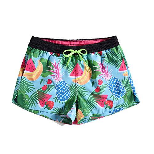 URVIP Badehose für Damen Mädchen Badeshorts für Frauen Schwimmhose Beachshorts Boardshorts Strand Shorts mit Mesh-Futter KW901005 M