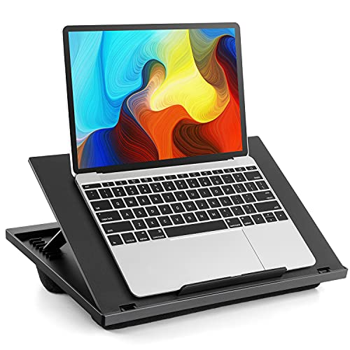 LORYERGO Laptop Lap Desk - Adjustable Laptop Stand with 8 Angles & Dual Cushions, Lap Table Fits up to 15.6 Inch Laptops, Portable Laptop Desk with Handle for Bed, Sofa or Car