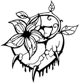 Kllomm 3 Piezas 16.6 cm * 17.6 cm Etiqueta engomada del Coche Etiqueta del Vinilo un corazón Perforado Amor Motocicleta calcomanías-Negro