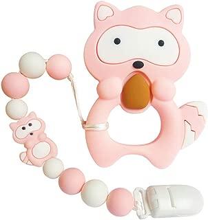 joylnk Baby Teething Toys Cartoon Animal Raccoon Theme Teether Silicone Trendy Chew Beads Pendant Holder PBA Free for Babies Boys Girls MAM,Newborn Shower Gifts (Pink)