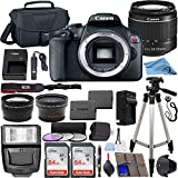 Canon EOS Rebel T7 24.1 MP DSLR Digital Camera with Canon EF-S 18-55mm Lens + 2 pc SanDisk 64GB Memory Cards + Camera Bag + Flash Light + Accessory Bundle