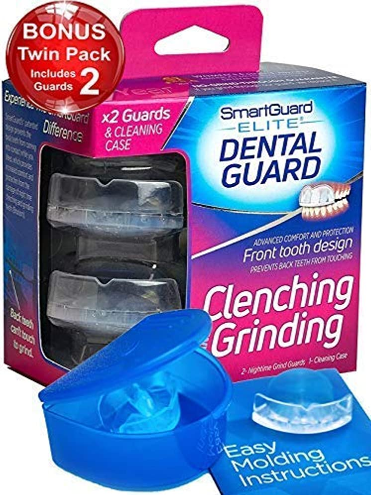 SmartGuard Elite Dental Guard (Twin Pack & Hygiene Case): Less Bulky Mouth Guard for Grinding Teeth – Front-Tooth Night Guard Designed by TMJ Dentist – Relief of Clenching & Grinding – Moldable