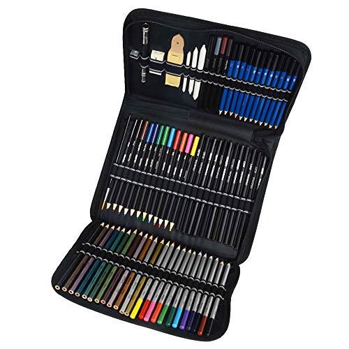 MOPOIN Buntstifte Set, 72 Stück Professionelle Aquarell Bleistifte Skizzieren Kunst Set mit Zipper Case Ideales Aquarellstifte Set für Künstler, Anfänger, Erwachsene und Kinder