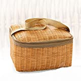Sheep Bolsa de picnic portátil de mimbre para exteriores, vajillas impermeables con aislamiento térmico, cesta de alimentos para acampar, picnic (color caqui, especificaciones: otro)