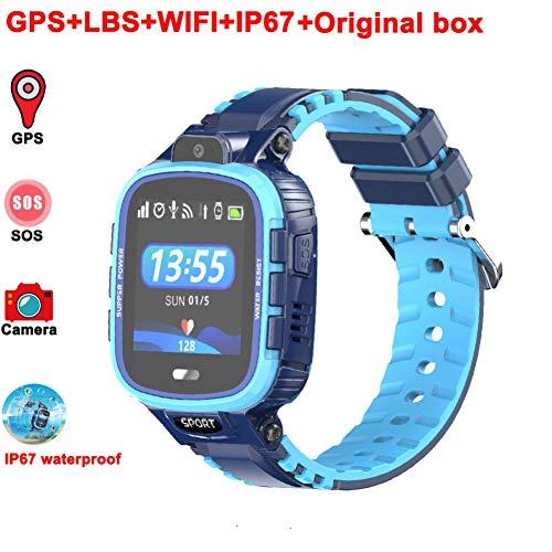 ZLOPV Fitness Armband GPS scherzt intelligente Uhr IP67 wasserdichte PAS Verfolger Anti-verlorene Smartwatch Baby 2G GPS WiFi Position scherzt Borduhr