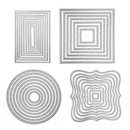 Troqueles Scrapbooking, 4 Formas Círculo Cuadrado Rectangular Acero al Carbono Plantillas...