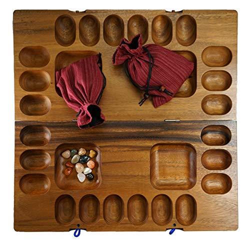 LOGOPLAY Kalaha für 2 bis 4 Spieler - Hus - Bao - Bohnenspiel - Muschelspiel - Edelsteinspiel - Steinchenspiel aus Samena-Holz