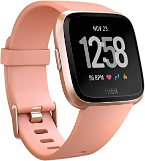 Fitbit Versa Health & Fitness Smartwatch with Heart Rate, 4+ Day Battery & Water Resistance, Peach/Rose Gold Aluminum