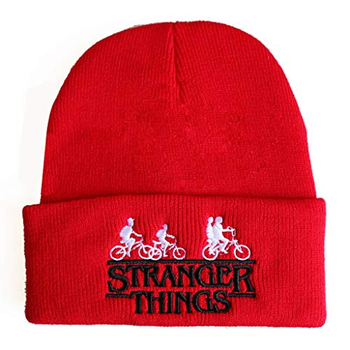 SHYPT Winterhüte für Frauen Seltsame Geschichte Stranger Things Bestickte Strickmützenfreunde Lügen Männermützen Nicht (Color : Red)