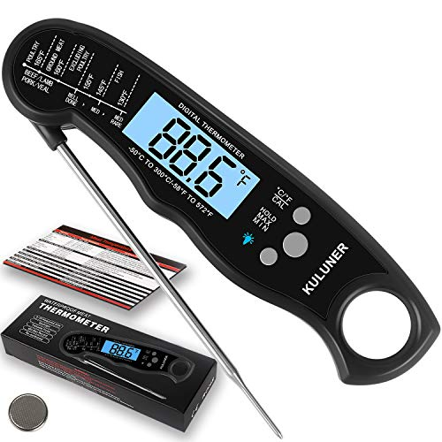 """KULUNER TP-01 Waterproof Digital Instant Read Meat Thermometer with 4.6"""" Folding Probe Backlight & Calibration Function for Cooking Food Candy, BBQ Grill, Liquids,Beef(Black)"""