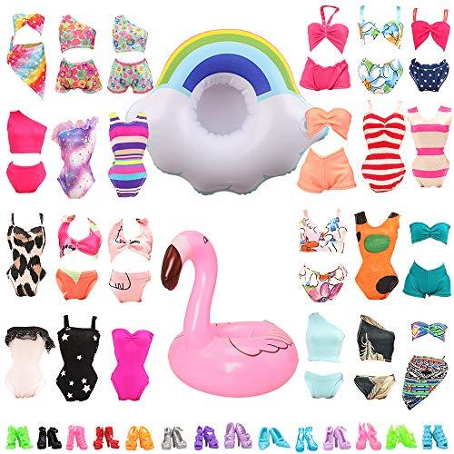 Miunana Kleider für 11,5 Zoll Mädchen Puppen Kleidung + Schuhe + Zubehör (5 Badeanzug + 5 Schuhe + 2 Schwimmreifen)