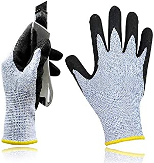 Level 5 Cut Resistant Work Gloves with 3D Comfort Strech Fit and Power Grip Nitrile Coated Palm for Gardening Constructions and Woodworking - Medium 1 Pair