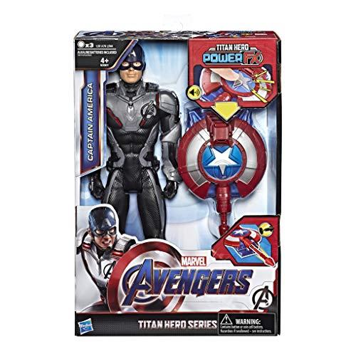 Hasbro Marvel Avengers- Endgame Captain America Titan Hero Power FX, Multicolore, 30 cm, E3301103