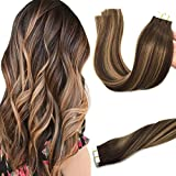 GOO GOO 20pcs 50g Tape in Hair Extensions Ombre Chocolate Brown to Caramel Blonde Remy Human Hair Extensions Tape in Balayage Natural Hair 20 inch