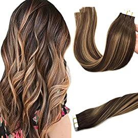 GOO GOO 20pcs 50g Human Hair Extensions Tape in Ombre Chocolate Brown to Caramel Blonde Natural Hair Extensions Tape in…