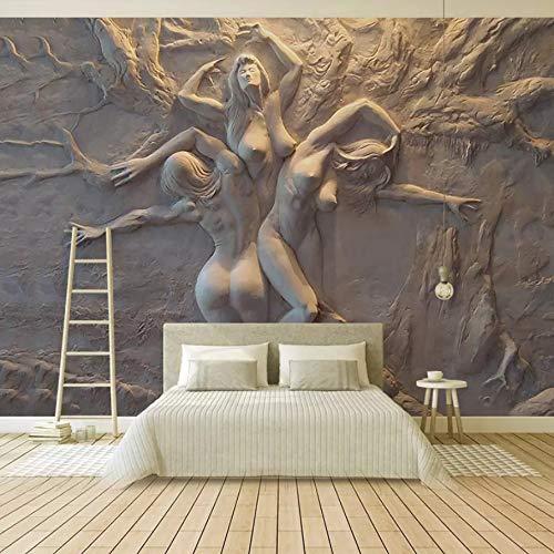 VVNASD 3D Peintures Murales Mur des Autocollants Décorations Fond D'Écran Salon Européen Abstrait Beauté Corps Art Fond Salon Art des Gamins Chambres À Coucher (W) 300X(H) 210Cm