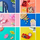 ELECOM Photography Background Texture Pattern Paper Tabletop Backdrop 6 Solid Colors 8.3' X 11.7'...