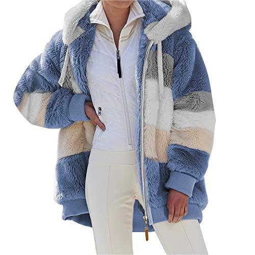 SHINEHUA Damen Teddy Fleecejacke mit Kapuze Warme Flauschjacke Kapuzenjacke Winter Warm Mantel Casual Zip Hoodie Plüschjacke Comfy Softjacket Bequeme stilvolle Winterjacke (Blau, L)