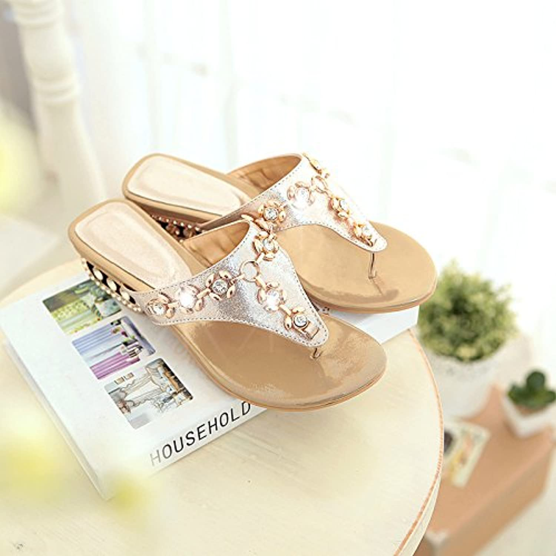 Summer New Women's shoes Flat Sandals Metal with flip Flops Korean Rhinestone Sandals