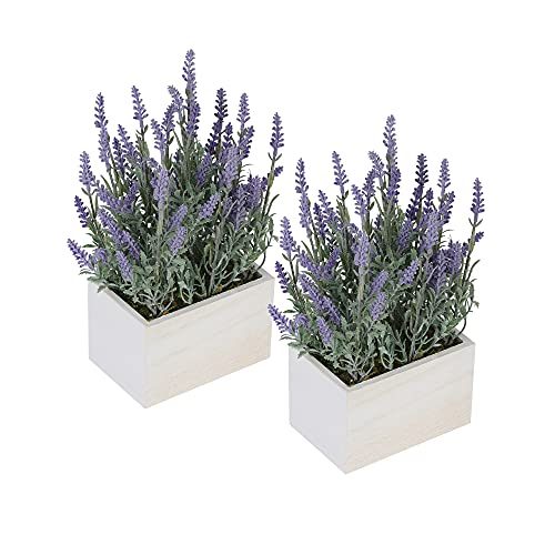 2 Packs Artificial Lavender Flowers Potted Plant, DDHS Spring Fake Plants for Farmhouse Home Kitchen...