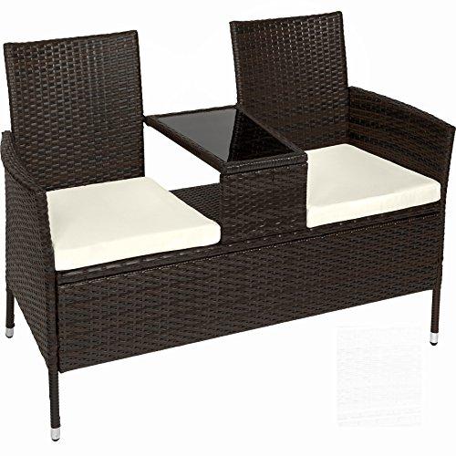 TecTake Salon de Jardin en résine tressée canapé Banc avec Table intégrée avec Verre de sécurité + Coussins - diverses Couleurs au Choix - (Noir Marron | No. 401548)