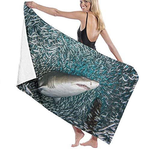 Toallas Shower Towels Beach Towels Bathroom Towels Toalla De Baño Toallas de baño para nadar con tiburones y banco de peces Toalla 130 x 80 CM