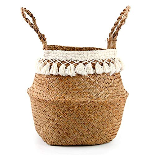 honghaier Wicker Basket Hanging Plant Baskets Garden Flower Vase Potted Foldable Pot with Handle Storage Basket Organizer Laundry Basket(As shown in the first picture)