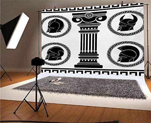 Toga Party - Telón de fondo de vinilo para fotógrafos de 20 x 15 cm con diseños circulares con accesorios antiguos espartanos, fondo de disfraz clásico para fiestas, decoración del hogar al aire libre