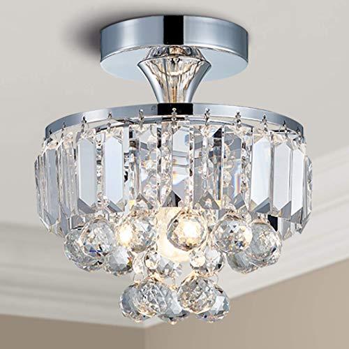 Bestier Moderne Chrom Kristall Halbbündig Kronleuchter Beleuchtung LED Deckenleuchte Lampe für Esszimmer Badezimmer Schlafzimmer Wohnzimmer