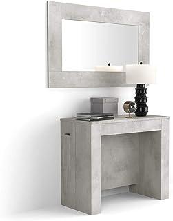 MOBILI FIVER, Table Console Extensible avec Porte-rallonges, Easy, Béton, 45 x 90 x 76 cm, Mélaminé/Aluminium, Made in Italy