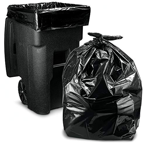 64-65 Gallon Trash Bags for Toter, (50 Case w/Ties) Large Black Garbage Bags, 50
